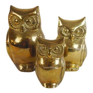 Vintage Brass Owls - Set of 3