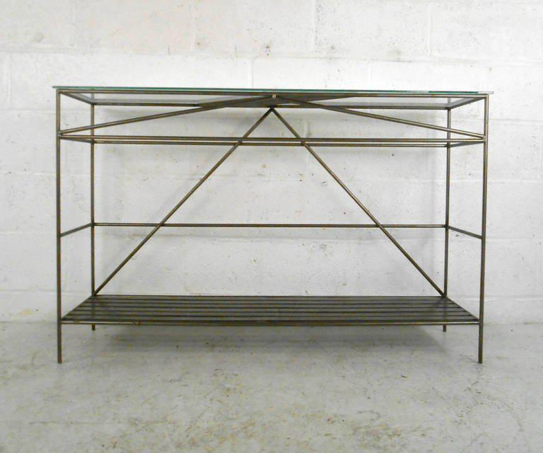 Exquisite Unique Modern Iron and Glass Hall Table DECASO