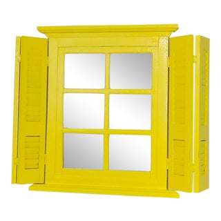 Yellow Window Pane Wall Mirror