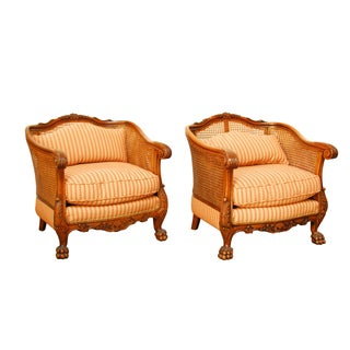 19th Century French Cane Bergere Chairs - Pair