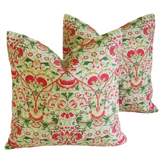 Pink & Green Floral Feather/Down Accent Pillows - a Pair