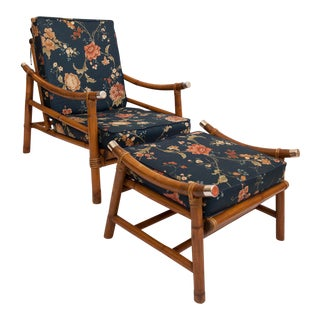 John Wisner Ficks Reed Style Bamboo Lounge Chair & Ottoman
