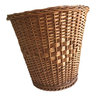 Vintage Wood Wicker Wastebasket