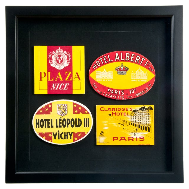 Framed French Hotel Luggage Labels - Image 1 of 2