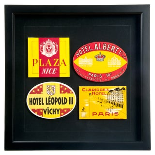Framed French Hotel Luggage Labels