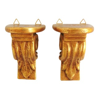 Italian Gold Leaf Wall Shelves - a Pair
