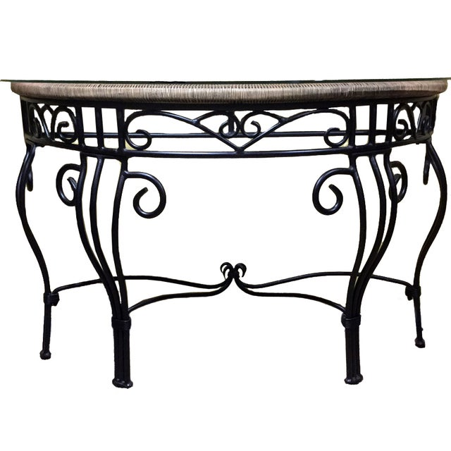Contemporary iron and glass console table chairish for Metal console tables glass top