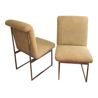 Chrome Accent Upholstered Chairs - a Pair