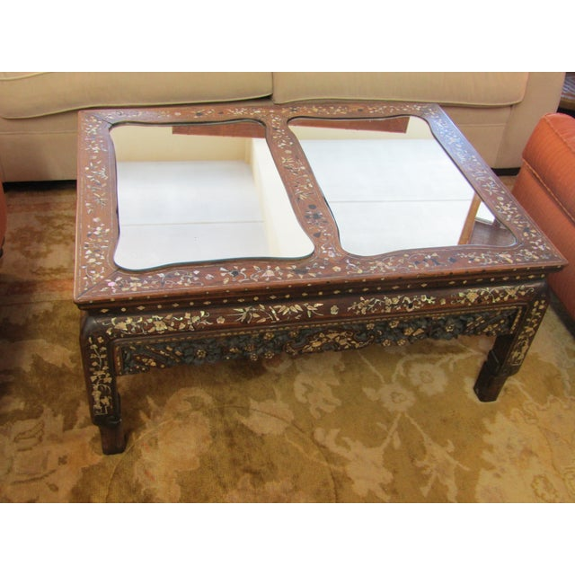 Carved Wood & Mother of Pearl Mirrored Coffee Table - Image 2 of 6