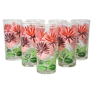 Vintage 1940's Posy Cocktail Tumblers - S/7