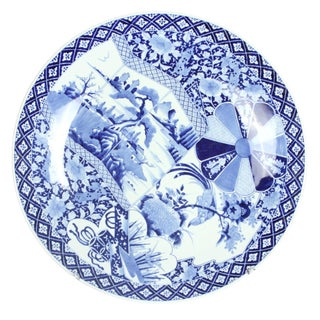Large blue white Japanese Imari charger c.1870