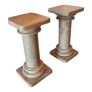 Marble Pedestals Columns - A Pair