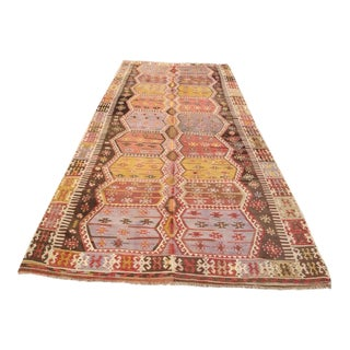 Vintage Turkish Kilim Rug - 5′11″ × 13′8″