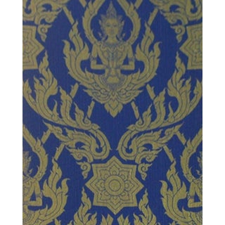 Thai Buddha Textured Blue Decorative Wallpaper