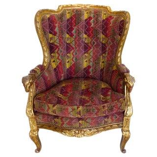 Antique Gilt Wood & Velvet Wingback Chair
