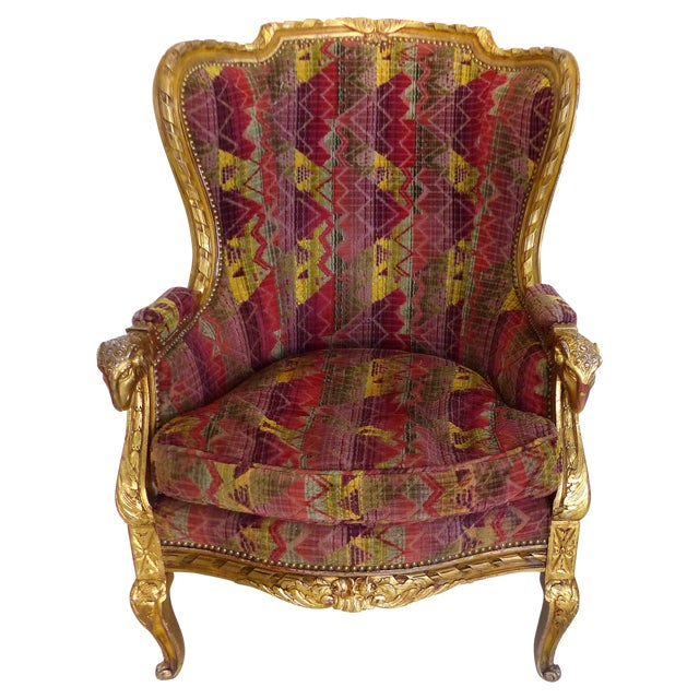 Antique gilt wood velvet wingback chair chairish