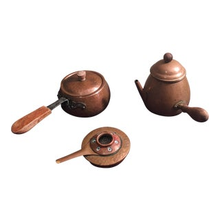 Antique Hammered Copper Fondue Pot & Tools - Set of 3