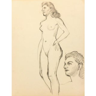 Nude Graphite Drawing by Jean Ernst, C. 1940