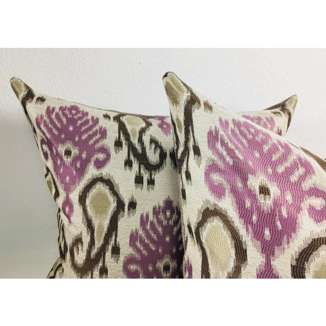 Modern Paisley Brocaded Pillows - a Pair - Image 2 of 4
