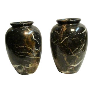 Large Black & Brown Marble Vases - a Pair