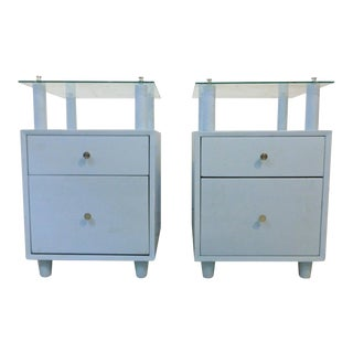 Mengel Module 1940s Sky Blue Night Stands With Raised Glass Tops