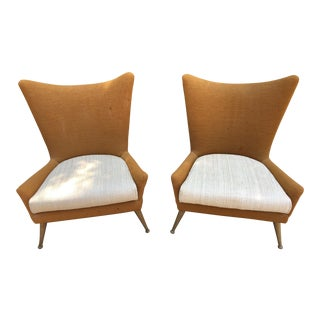 Rare Pair of Vintage Ben Siebel Mid-Century Wingback Chairs
