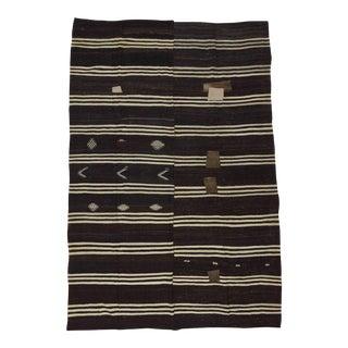 White Black Striped Vintage Kilim Rug - 8′9″ × 13′1″