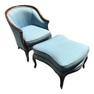 French Barrel Back Chair & Ottoman - A Pair