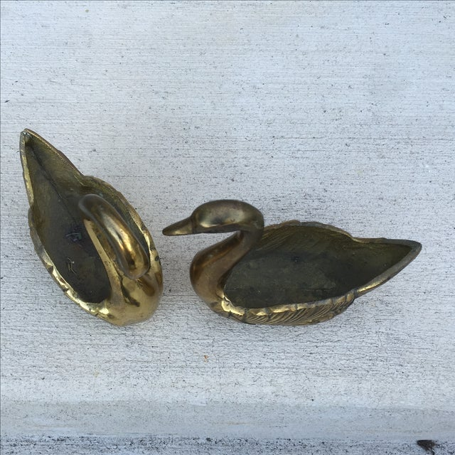 Vintage Brass Swan Planters - A Pair - Image 7 of 11