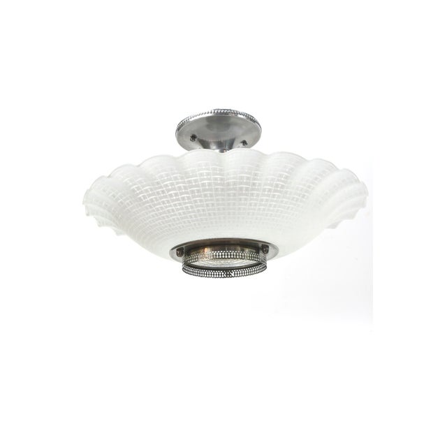 Chrome & Glass Disk Semi Flush Vintage Fixture - Image 2 of 5