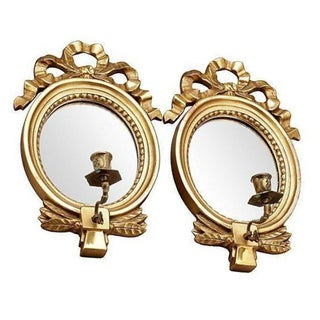 Gustavian Style Candle Holder Mirrors - A Pair