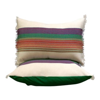 Striped Mexican Textile Pillows - A Pair