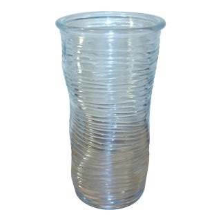 Clear Glass Ribbed Wavy Vase