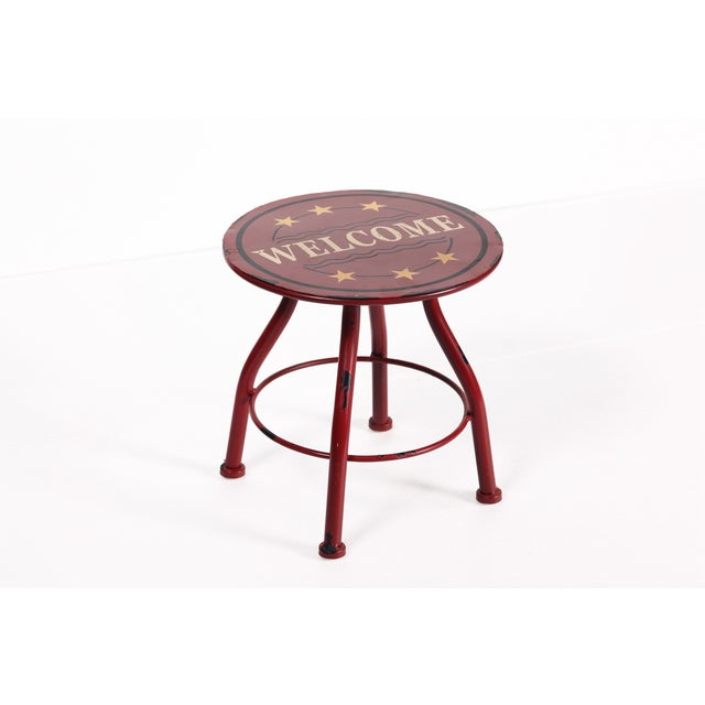 Round Antique Welcome Metal Stool - Image 3 of 3