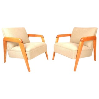 Heywood Wakefield Style Mid-Century Lounge Chairs - a Pair