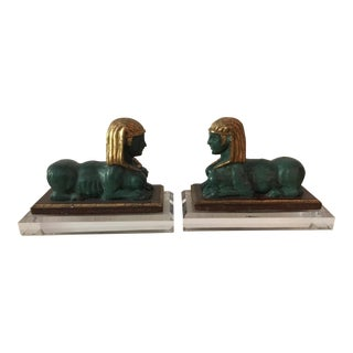 Italian Polychrome Sphynx Bookends - A Pair