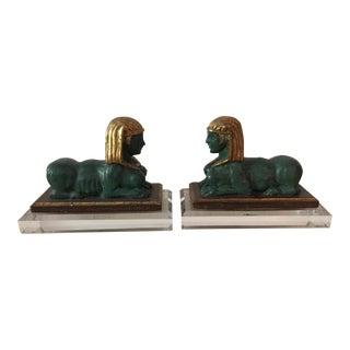 Italian Polychrome Sphynx Bookends - A Pair