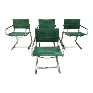 Vintage Chrome Emerald Green Cantilever Chairs - Set of 4
