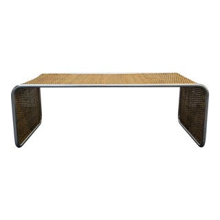 Mid-Century Woven Bamboo Ratan & Chrome Coffee Table Bench