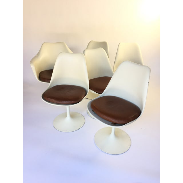 Eero Saarinen Leather Tulip Chairs - Set of 6 - Image 2 of 9