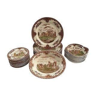 Vintage English Castle Dinner Service - Set of 32