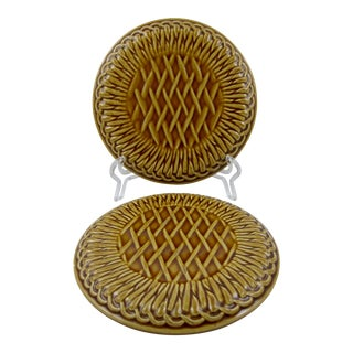 French Faïence Wine Bottle Coasters- A Pair