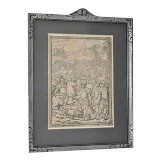 """16th C. Giovanni Battista Franco """"Battle Scene"""" Etching"""