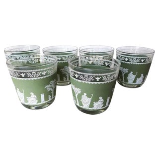 Wedgwood Vintage Green Bar Glasses - Set of 6