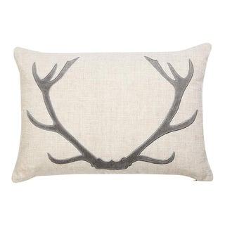 """Piper Collection Gray Antler Linen """"Vixen"""" Pillow"""