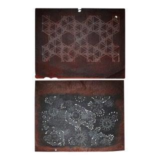 Japanese Katagami Stencil Art - A Pair