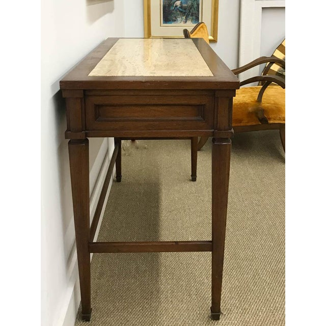 Mid Century Marble Top Console Table, Desk - Signed White Furniture - Image 3 of 8