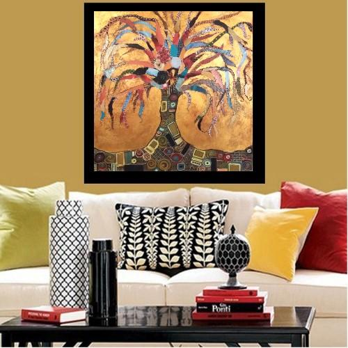 "Klimt Inspired ""Tree of Life"" Gold Leaf Collage - Image 5 of 7"