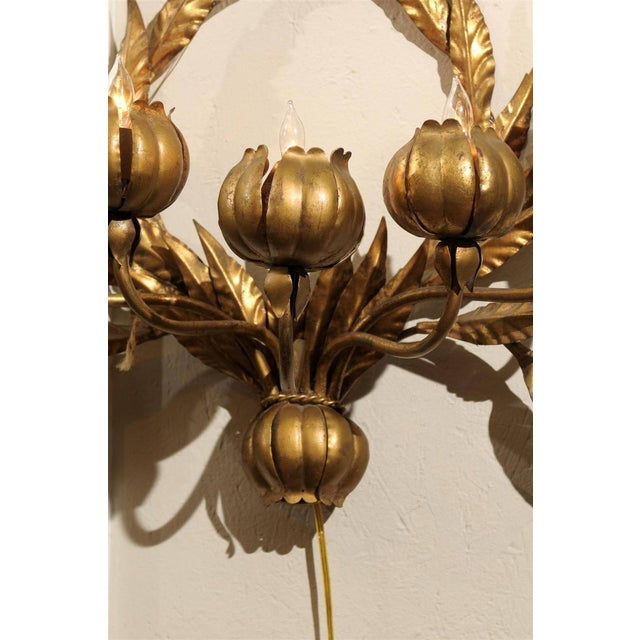 Image of Hollywood Regency Italian Gilt Floral Wall Sconce