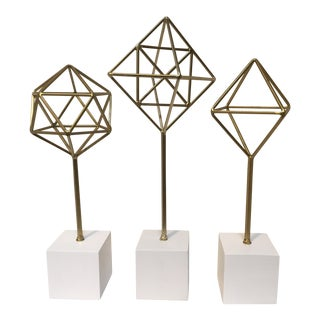 Geometric Metal Prism Sculptures- Set of 3